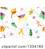 Clipart Of A Seamless Background Pattern Of Christmas Trees Envelopes Snowflakes And Gingerbread Men Royalty Free Vector Illustration by Cherie Reve
