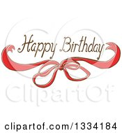 Clipart Of A Happy Birthday Greeting Over A Sketched Red Bow Royalty Free Vector Illustration