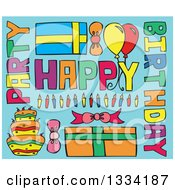 Clipart Of Cartoon Happy Birthday Greeting Text Candles Gifts Balloons And Cake On Blue Royalty Free Vector Illustration by Cherie Reve