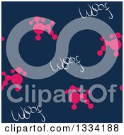 Seamless Background Pattern Of Pink Poodles And Woof Dog Text On Blue