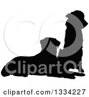 Clipart Of Two Black Silhouetted Dogs A Golden Retriever And Labrador Sitting And Resting Royalty Free Vector Illustration