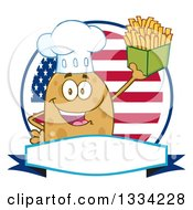 Clipart Of A Cartoon Chef Russet Potato Character Holding Up French Fries Over An American Flag Logo Royalty Free Vector Illustration