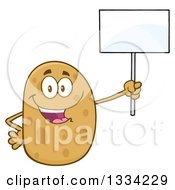 Clipart Of A Cartoon Russet Potato Character Holding Up A Blank Sign Royalty Free Vector Illustration by Hit Toon