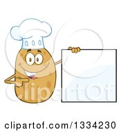 Clipart Of A Cartoon Chef Russet Potato Character Holding And Pointing To A Blank Sign Royalty Free Vector Illustration