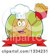 Clipart Of A Cartoon Chef Russet Potato Character Holding Up French Fries Over A Green Circle Logo And Blank Red Banner Royalty Free Vector Illustration by Hit Toon
