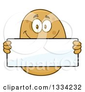 Clipart Of A Cartoon Russet Potato Character Holding A Blank Sign Royalty Free Vector Illustration by Hit Toon