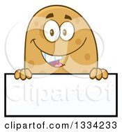 Clipart Of A Cartoon Russet Potato Character Over A Blank Sign Royalty Free Vector Illustration by Hit Toon