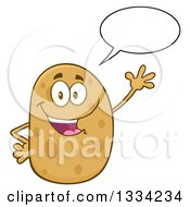 Clipart Of A Cartoon Russet Potato Character Talking And Waving Royalty Free Vector Illustration