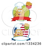 Clipart Of Cartoon Chef Russet Potato Characters Holding French Fries On Logos Royalty Free Vector Illustration