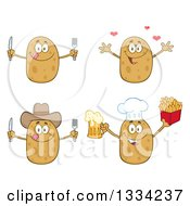 Clipart Of Cartoon Chef Cowboy And Plain Russet Potato Characters With Silverware Hearts Beer And French Fries Royalty Free Vector Illustration