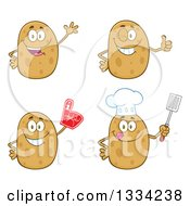 Clipart Of Cartoon Chef And Plain Russet Potato Characters Waving Giving A Thumb Up Wearing A Foam Finger And Holding A Spatula Royalty Free Vector Illustration by Hit Toon
