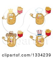 Clipart Of Cartoon King Chef Cowboy And American Russet Potato Characters Holding French Fries Royalty Free Vector Illustration