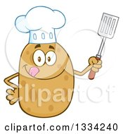Clipart Of A Cartoon Chef Russet Potato Character Licking His Lips And Holding A Spatula Royalty Free Vector Illustration