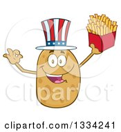 Clipart Of A Cartoon American Russet Potato Character Wearing A Hat Gesturing Ok And Holding Up French Fries Royalty Free Vector Illustration
