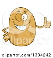 Clipart Of A Cartoon Russet Potato Character Winking And Giving A Thumb Up Royalty Free Vector Illustration