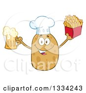 Clipart Of A Cartoon Chef Russet Potato Character Holding Up A Beer And French Fries Royalty Free Vector Illustration