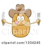Clipart Of A Cartoon Cowboy Russet Potato Character Licking His Lips And Holding Silverware Royalty Free Vector Illustration by Hit Toon
