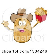 Cartoon Cowboy Russet Potato Character Gesturing Ok and Holding French Fries