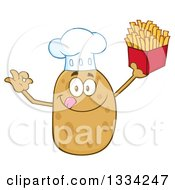 Clipart Of A Cartoon Chef Russet Potato Character Licking His Lips Gesturing Ok And Holding Up French Fries Royalty Free Vector Illustration