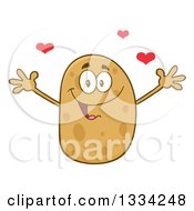 Clipart Of A Cartoon Russet Potato Character With Open Arms And Hearts Royalty Free Vector Illustration by Hit Toon