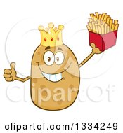 Clipart Of A Cartoon King Russet Potato Character Giving A Thumb Up And Holding French Fries Royalty Free Vector Illustration