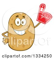 Clipart Of A Cartoon Russet Potato Character Wearing A Foam Finger Royalty Free Vector Illustration