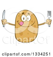 Clipart Of A Cartoon Russet Potato Character Licking His Lips And Holding Silverware Royalty Free Vector Illustration