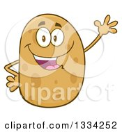 Clipart Of A Cartoon Russet Potato Character Waving Royalty Free Vector Illustration