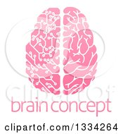 Clipart Of A Pink Half Human Half Artificial Intelligence Circuit Board Brain Over Sample Text Royalty Free Vector Illustration