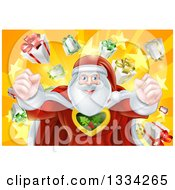 Clipart Of A Super Hero Santa Claus Flexing His Muscles In A Christmas Suit Over A Star Burst With Gifts Royalty Free Vector Illustration
