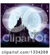 Full Moon Behind A Halloween Haunted Castle With Bare Trees And Purple Tones