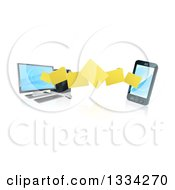 Clipart Of A 3d Folder File Transfer From A Desktop Computer To A Smart Cell Phone With Reflections Royalty Free Vector Illustration
