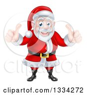 Clipart Of A Happy Christmas Santa Claus Giving Two Thumbs Up Royalty Free Vector Illustration