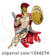 Clipart Of A Strong Spartan Trojan Warrior Mascot Wearing A Cape Jumping With A Sword And Shield Royalty Free Vector Illustration