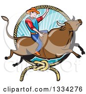 Cartoon Caucasian Rodeo Cowboy On A Bucking Steer Bull Over A Lasso And Ray Frame