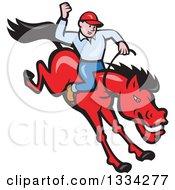 Cartoon Caucasian Rodeo Cowboy On A Red Bucking Horse