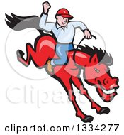 Clipart Of A Cartoon Caucasian Rodeo Cowboy On A Red Bucking Horse Royalty Free Vector Illustration