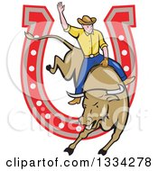 Clipart Of A Cartoon Caucasian Rodeo Cowboy On A Bucking Steer Bull Over A Horseshoe Royalty Free Vector Illustration by patrimonio