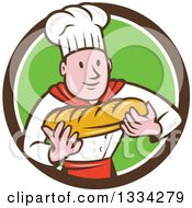 Clipart Of A Cartoon Caucasian Male Chef Baker Holding A Loaf Of Bread In A Brown White And Green Circle Royalty Free Vector Illustration