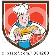 Clipart Of A Cartoon Caucasian Male Chef Baker Holding A Loaf Of Bread In A Brown White And Red Crest Royalty Free Vector Illustration by patrimonio