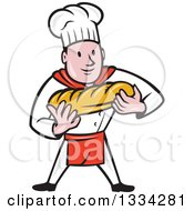 Clipart Of A Cartoon Caucasian Male Chef Baker Holding A Loaf Of Bread Royalty Free Vector Illustration by patrimonio