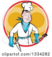Clipart Of A Cartoon Caucasian Male Bbq Chef Holding A Spatula In A Red White And Orange Circle Royalty Free Vector Illustration