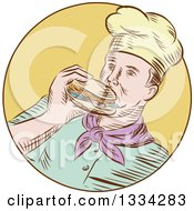 Clipart Of A Retro Sketched Caucasian Male Chef Eating A Hamburger In A Yellow Circle Royalty Free Vector Illustration