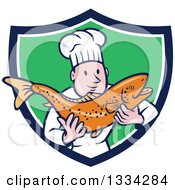 Clipart Of A Cartoon Caucasian Male Chef Holding A Fresh Trout Fish In A Blue White And Green Shield Royalty Free Vector Illustration