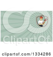 Clipart Of A Cartoon White Male Plumber Holding A Monkey Wrench And Looking To The Side And Pastel Green Rays Background Or Business Card Design Royalty Free Illustration
