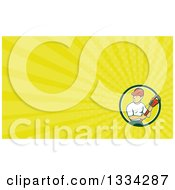 Clipart Of A Cartoon White Male Plumber Holding A Monkey Wrench And Looking To The Side And Yellow Rays Background Or Business Card Design Royalty Free Illustration