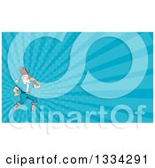 Clipart Of A Cartoon Plumber Santa Holding A Monkey Wrench Over His Shoulder And Blue Rays Background Or Business Card Design Royalty Free Illustration by patrimonio