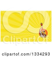 Clipart Of A Retro Male Plumber Holding Up A Monkey Wrench And Yellow Rays Background Or Business Card Design Royalty Free Illustration