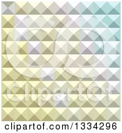 Clipart Of A Geometric Background Of 3d Pyramids In Light Khaki Yellow Royalty Free Vector Illustration
