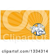 Retro Drainlayer Man Carrying A Spade And Pipe And Orange Rays Background Or Business Card Design